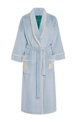 Alena Akhmadullina Bird Embroidered Light Fur Robe Blue