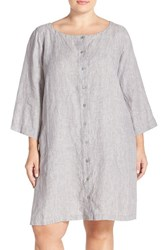 Plus Size Women's Eileen Fisher Organic Linen Bateau Neck Shift Dress Dark Pearl