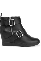 Dkny Hanna Buckled Leather Wedge Boots Black
