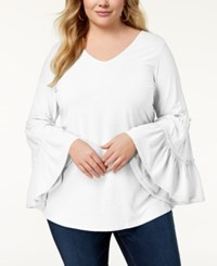 Ny Collection Plus Size Ruffled Sleeve Top White