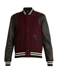 Saint Laurent Wool Blend And Leather Teddy Jacket Burgundy