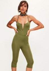 Missguided Khaki V Bar Strappy Jersey Cropped Unitard Jumpsuit