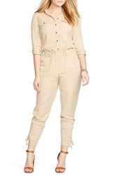 Plus Size Women's Lauren Ralph Lauren Tencel Twill Drawcord Cuff Jumpsuit New Tan