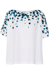 Suno Embellished Cotton Top White