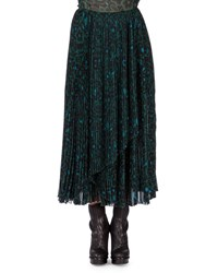 Kenzo Shadow Flower Long Pleated Skirt Bottle Green
