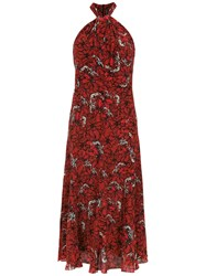 Andrea Marques Printed Silk Dress Red