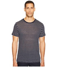 Atm Anthony Thomas Melillo Striped Linen Jersey Oversized Crew Midnight White Stripe Men's T Shirt Black