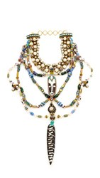 Erickson Beamon Imitation Pearl Safari Bib Necklace Multi