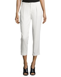 Haute Hippie Pleated Front Cropped Pants Swan