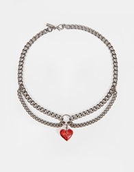 Regal Rose Ruby Blood Red Heart And Gunmetal Choker Chain Necklace Bloodred