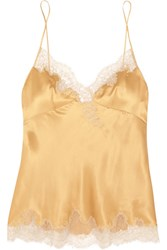 Carine Gilson Embroidered Lace Trimmed Silk Satin Camisole Gold