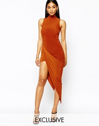 Club L Slinky High Neck Dress With Ruched Asymmetric Skirt Tobacco