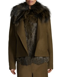 Jason Wu Double Face Fur And Wool Jacket Acorn