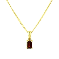 A B Davis 9Ct Gold Garnet Pendant Necklace Red