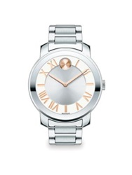 Movado Bold Luxe Stainless Steel Bracelet Watch 39Mm Silver Rose Gold