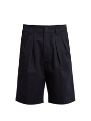 Acne Studios Alex H Pleated Cotton Twill Shorts Navy