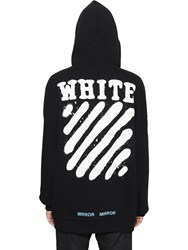 Off White Spray Stripes Cotton Hooded Sweatshirt