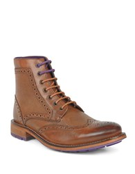 Ted Baker Sealls 3 Leather Wingtip Brogue Boots Tan