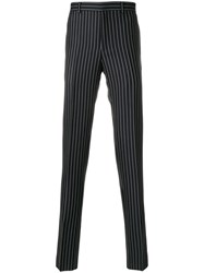 Givenchy Broken Stripe Tailored Trousers Acetate Cupro Mohair Wool Black