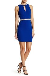 Soieblu Beaded Trim Keyhole Dress Blue