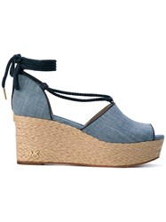 Michael Michael Kors Hastings Wedged Sandals Women Cotton Artificial Leather 6.5 Blue