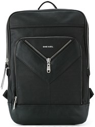Diesel Square Backpack Men Cotton Leather Nylon One Size Black