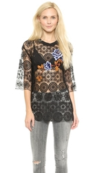 Clover Canyon Floral Embroidery Lace Top Black