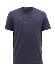 Lndr Logo Print Cotton Jersey T Shirt Navy