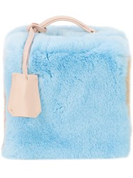 Natasha Zinko Fur Colour Block Cube Tote Bag Blue