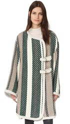 See By Chloe Oversized Striped Coat Green