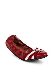 Bally Tippy Leather Flats Red