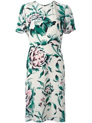 Burberry Floral Print Dress Emerald