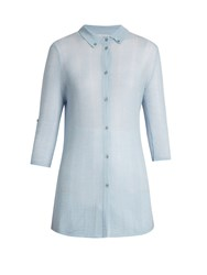 Gabriela Hearst Rosaleen Cashmere And Silk Blend Polo Shirt Light Blue