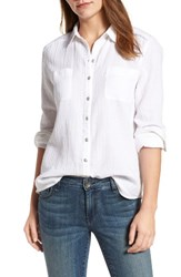 Caslonr Women's Caslon Long Sleeve Crinkle Cotton Shirt White