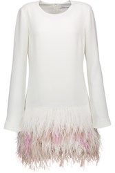Elizabeth And James Serena Feather Trimmed Crepe Mini Dress White