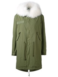 Mr And Mrs Italy Army Long Parka Women Cotton Leather Polyester Racoon Fur Xxs Green