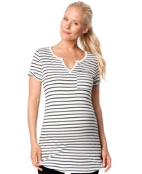 A Pea In The Pod Maternity Striped Tunic White Black