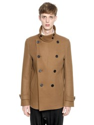 Wooyoungmi Stretch Wool Cashmere Blend Pea Coat