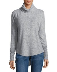 Sweet Romeo Cowl Neck Brushed Knit Sweater Gray