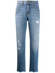 Don't Cry Distressed Straight Jeans Blue