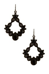 Spring Street Open Beaded Drama Earrings Black