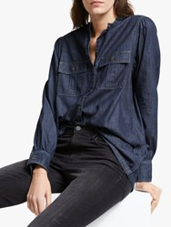 And Or Devon Shirred Denim Shirt Blue