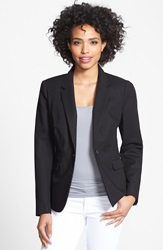 Vince Camuto Stretch Cotton One Button Blazer Rich Black