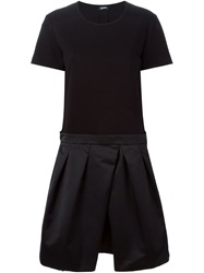 Jil Sander Navy Short Sleeve Pleated Dress Black