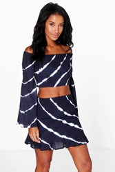 Boohoo Tie Dye Off The Shoulder Top And Flippy Skirt Set Navy