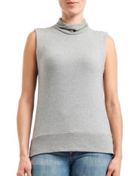 Three Dots Hi Lo Sleeveless Turtleneck Sweater Granite