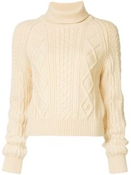 Chanel Vintage Fisherman Roll Neck Sweater Nude And Neutrals
