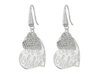 Guess Double Heart With Logo Drop Earrings Shiny Silver Crystal Earring