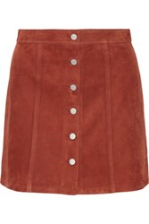 Theory Benna Suede Mini Skirt Camel