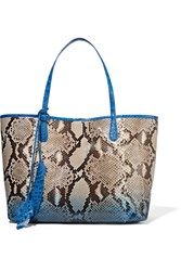 Nancy Gonzalez Crocodile Trimmed Python Tote Blue